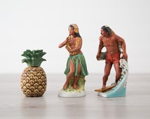 Set of 3 Small Vintage Hawaiian Okolehao Collectible Souvenir Liquor Bottles / Hula Girl, Surfing Man and Pineapple
