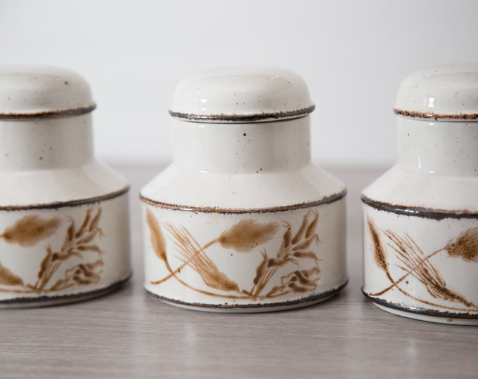 Vintage Midwinter Sugar Canister with Wild Oats Pattern / Stonehenge Oven to Tableware / Wheat / Wedgwood / Made in England / Rustic Coffee