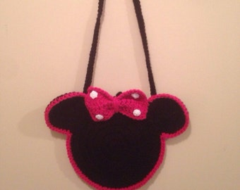 Minnie Mouse Purse - Crochet Minnie Bag - Red or Pink