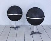 70's Round Globe Speakers Stereo Audio Modern Retro Atomic Sputnik Grundig Nivico Style Ball Sphere