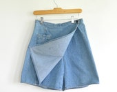 90's Denim Skort Wrap Skirt Liz Claiborne Lizwear Skirt Short Combination Women's 8