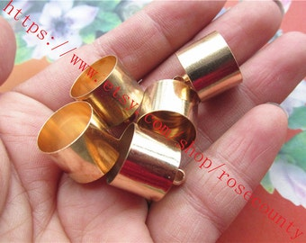 Wholesale 100pcs 16x14mm COPPER material gold Tassel Caps/end cap terminators findings