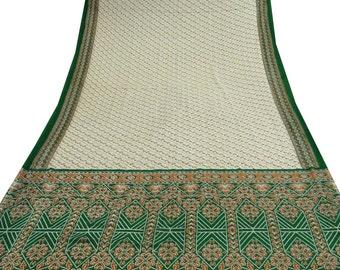 Vintage Rayon Cotton Saree India Fabric Floral Printed Soie Dress Fabric 5Yard Sarong Beige Sari A10846