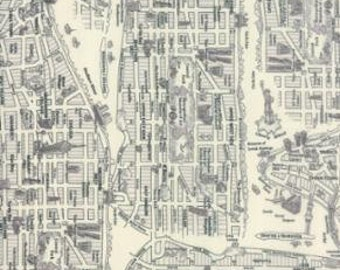 Passport - New York Map Black White - 1/2yd
