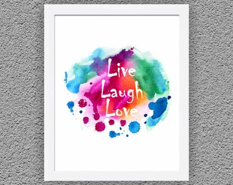 """Live Laugh Love Print 11"""" x 14"""", Typography Poster,Inspirational Quote,Typographic Print,Home Wall Decor, Home Digital Art, Home Wall Art"""