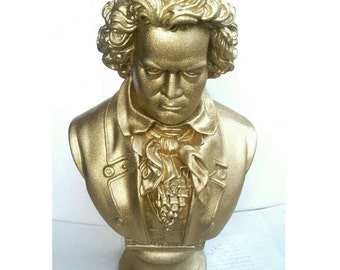 Beethoven Bust - Gold Glitter Statue Plaster - Art Vintage Inspired Hand Painted Sculpture Decor Classical Music Composer