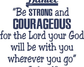 Bible verse, Boy nursery, Scripture vinyl wall decal,  Be strong and courageous...-vinyl wall art