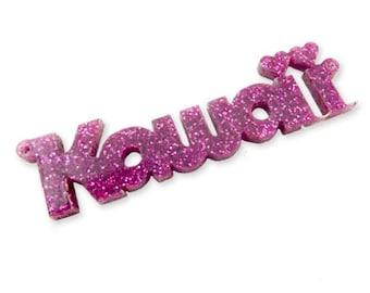 Kawaii word laser cut charm