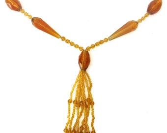 "Amber Crystal Bead  ""Flapper"" Necklace from the 1920's"
