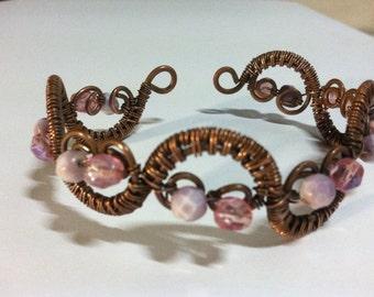 Pretty pink woven waves copper cuff bracelet