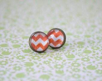 Orange earrings, studs