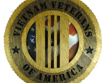 Vietnam Veterans of America Military Wall Plaque with American Flag - Personalize It!