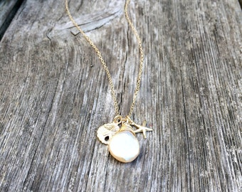 freshwater pearl necklace starfish necklace sand dollar necklace pearl jewelry bridesmaid gift sets beach wedding jewelry wedding jewelry