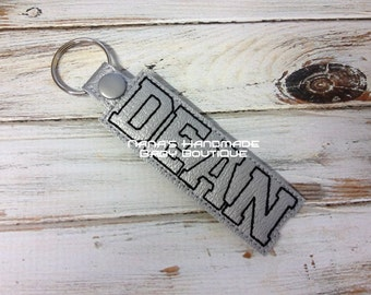 DEAN Custom Name - In The Hoop - Snap/Rivet Key Fob - DIGITAL Embroidery DESIGN