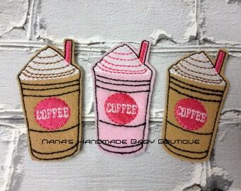 Coffee - Frappuccino - Milkshake Feltie/Clippie Design - 4 x 4 and 5 x 7 DIGITAL EMBROIDERY DESIGN