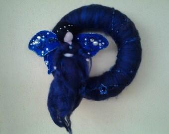 SENA, Night fairy, Needle Felted Wool Doll Angel Faeries, Soft Sculpture, Waldorf Inspired