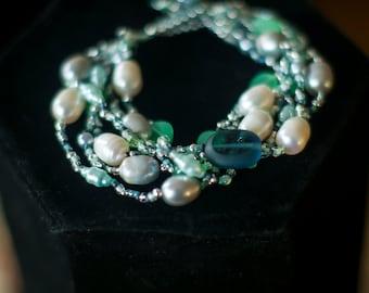 Unique Bridesmaid Gift  Salt-Water Pearl Multi-Strand Flowy Spring Bracelet  Silver Blue Green Cream Beadwoven  Glass, Swarovski Crystal