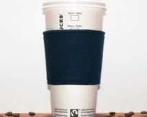 Dark blue Coffee cozy, Fabric Coffee sleeve, Cup sleeve, Coffee clutch, Hot cup jacket, Reusable, Coffee Clutch, Man Women, Premium
