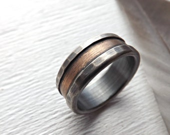 bronze ring silver, bronze wedding band, mens wedding band, rustic silver ring bronze rustic wedding ring, engagement ring, anniversary gift