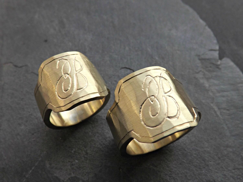 mens signet ring brass signet ring personalized gift for. Black Bedroom Furniture Sets. Home Design Ideas