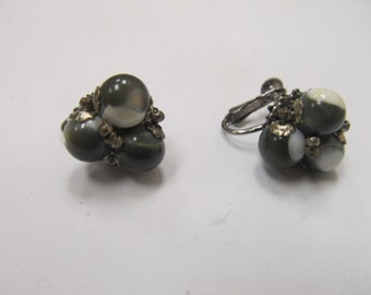 MIRIAM HASKELL Gray and White Bauble Earrings Item W-#710