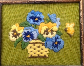 Basket Of Pansies Embroidery Wall Hanging