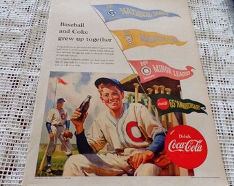 Original 1951  Coke/ Coca Cola ad.  Baseball & Coke grew up together.