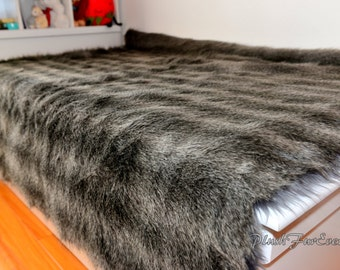 Lodge Cabin Rustic Faux Fur Raccoon Silver Bedspread Throw Comforters Acrylics Made in USA  Rustic Home Decor Accent Mink Back