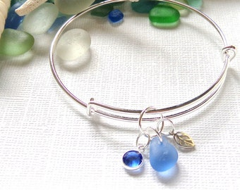 Seaglass Bracelet Leaf Bangle Sea Glass Bracelet  Silver Charm Bangles  Garden Leaf Seaside