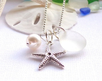 Wedding Sea Glass Starfish Beach Glass Jewelry Seaglass Jewelry Garden Leaf Seaside