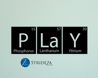 Periodic table of elements play wall decal, play decal, periodic table wall art, periodic table wall decor, boys room decor, D00294.
