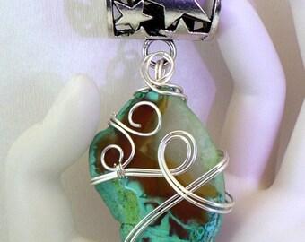 Bijou d'écharpe ou de foulard, bélière argentée wire wrapping agate cristal