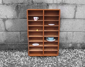 1960s Mid Century Wooden Wall Shelf - Great Sorting Office Pigeon Holes - Display Cupboard