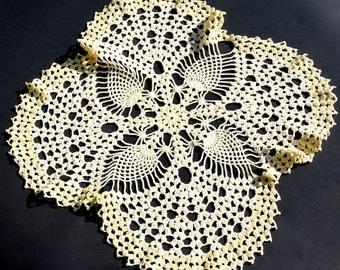 Vintage Crocheted Doily, Yellow Pineapple Centerpiece, Basket Liner, Lemon Table Topper, Boho Cottage Chic Retro Decor,