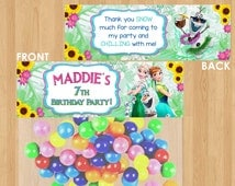 Frozen Fever Bag Topper, Frozen Fever Birthday Party Favors, Frozen Fever Printable, Summer Personalized Party Supplies Treat Candy Ziploc