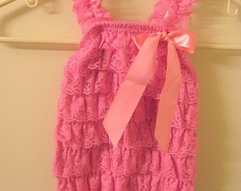 Baby Toddler Ruffle Petti Romper With Straps Dark Pink Size LARGE