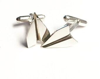 Paper plane cuff links