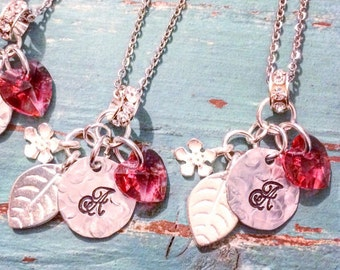 Bridesmaid Jewelry Sets - Personalized Wedding Jewelry with Swarovski Crystal Heart Drop Pendant