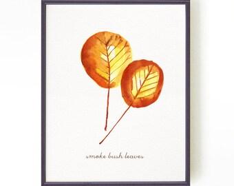 Autumn leaf art print, watercolor panting, Botanical print, Leaf art, Leaf painting Orange yellow wall art, Smoke bush leaf Buy 2 Get 1 Free