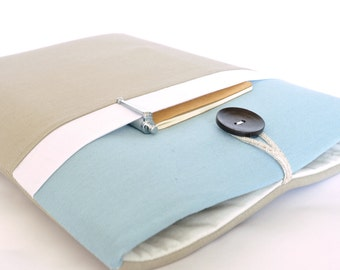 "15.6"" Laptop Case, 14"" Laptop Sleeve 13.3"", 12.5"" Laptop Sleeve 11.6"" - Blue + Taupe"