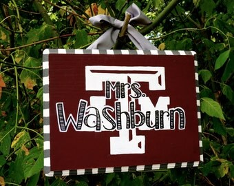 Personalized Texas A&M Teacher Sign