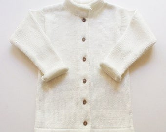 Babies/Children's cotton roll-neck Cardigan with handmade oak buttons/toddlers/jacket/sweater/jumper/outfit