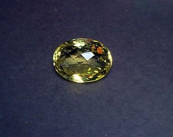 Huge 23x17mm oval checkerboard lemon quartz