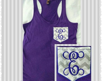 single letter faux pocket monogrammed racer back tank top, tank top, birthday gift, bridesmaids matching tanks