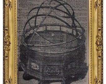 Vintage page art print ORRERY on antique book page
