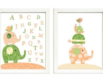 Peach Coral Green Nursery Art Print Set of 2 Elephant Bird Turtle Snail ABC Alphabet Baby Child Kid Room Wall Decor