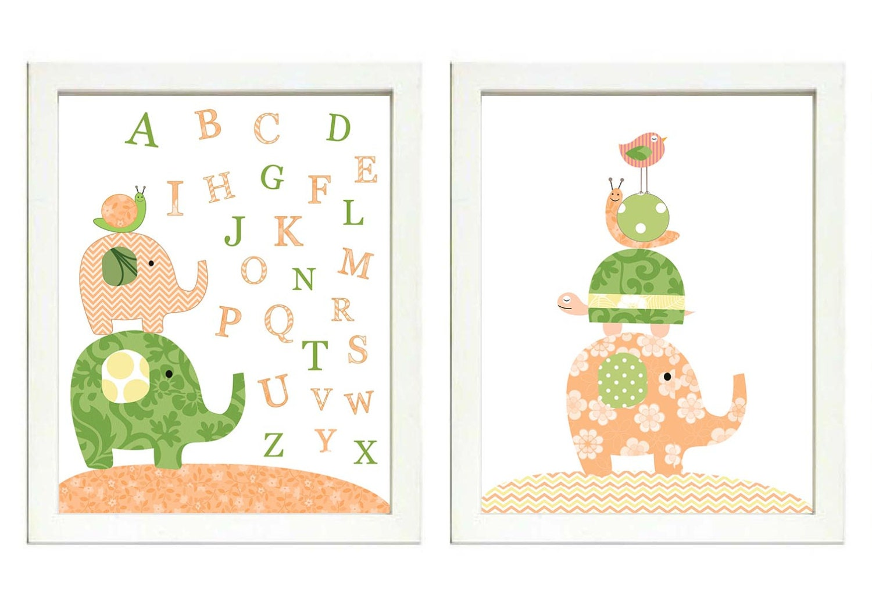 Peach Coral Green Nursery Art Print Set of 2 Elephant Bird Turtle Snail ABC Alphabet Baby Child Kid