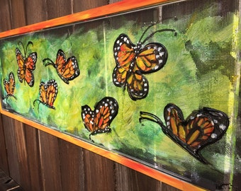 Monarch butterfly,Old window recycled screen Monarch Butterfly Painting,Colorful painting, Outdoor Art,