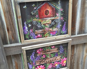 Bird house - set of 2 Garden Bird House Painting, recycled wood frame, flowers,bird house