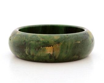 Creamed Spinach Green Bakelite Bangle Bracelet, Vintage Bakelite Bracelet, Genuine Bakelite Tested Simichrome, Bakelite Marbled Green Bangle